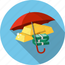 capital, ingots, investment, money, protection, staks, umbrella icon