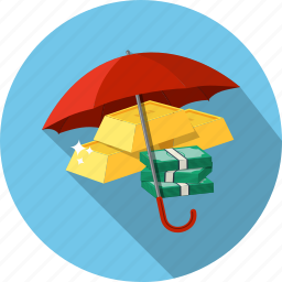 capital, ingots, investment, money, protection, staks, umbrella icon