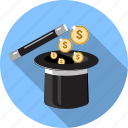 business, ecommerce, magicwand, money, shopping, tophat icon