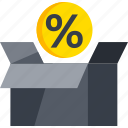 box, ecommerce, percent, sale, shop, shopping icon