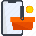add, basket, coin, ecommerce, phone, shop, shopping icon