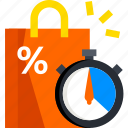 discount, ecommerce, sale, shop, shopping, time icon