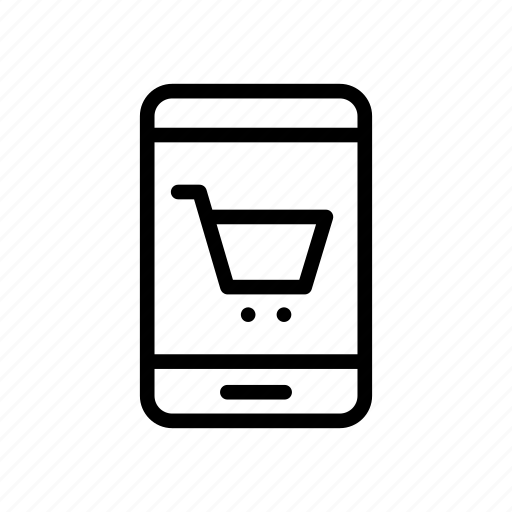 ecommerce, mobile, phone, shopping, trolley icon