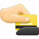 buying, credit card, hand, pay, paying, shopping, swipe icon