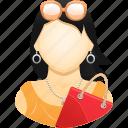 fashion, girl, shopper, shopping, shopping bag, woman icon