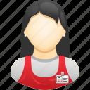 apron, retail, shop assistant, woman, worker icon
