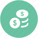 change, coins, dollar coins, donation, funds, money icon