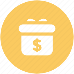 cash gift, dollar sign, donation concept, earnings, gift box, savings, success icon