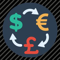 atm, dollar, euro, exchange, international, money, pound icon