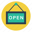 available, business, market, open, shop, sign, store icon