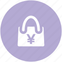 ecommerce, economy, handbag, packaging concept, purchase, web ui, yen sign icon