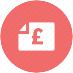 bank document, bank statement, banking, commerce, finance, financial document, pound statement icon
