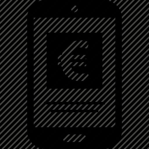 cell, euro, money, phone, sales, shopping icon