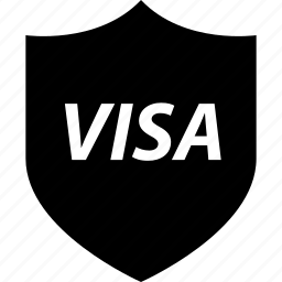 business, money, online, shield, visa icon