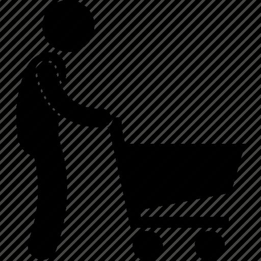 cart, man, pushing, retailer, shopper, shopping, trolley icon