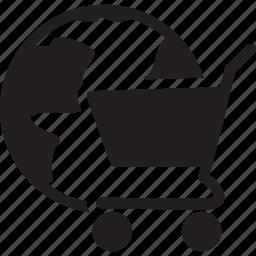 cart, globe, online, shopping icon