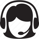 female, headphones, microphone, support, woman icon