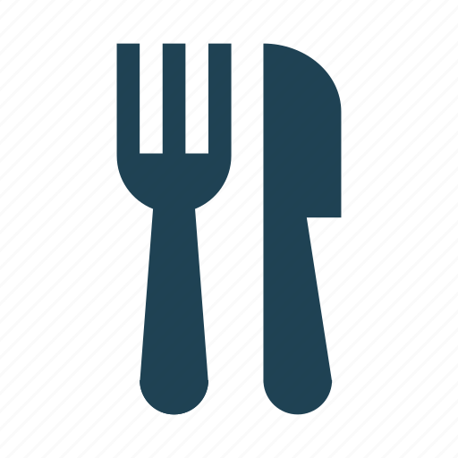 cutlery, eating, fork, knife, meal, shopping, solid icon