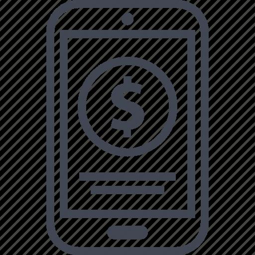 coin, dollar, phone icon