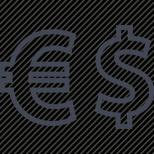 dollar, euro, sign icon