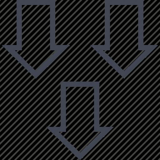 arrows, down, three icon