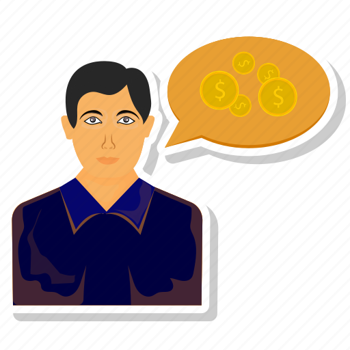 chat, coin, dollar, forum, man, people, user icon