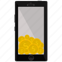 coin, dollar, iphone, mobile, smartphone icon