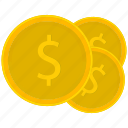 coin, coins, dollar, gold, money icon