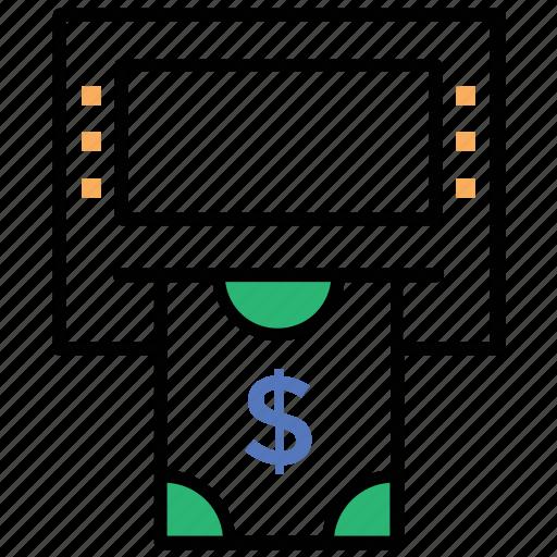 atm machine, cash withdrawal, debit card transaction, money dispenser, online payment icon