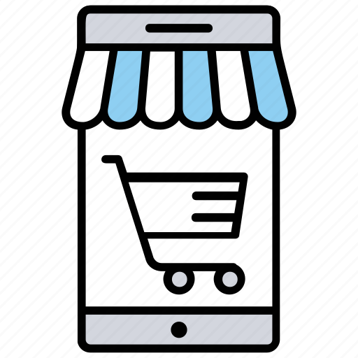 digital shop, m-commerce, mobile shopping, online shopping, purchase via mobile icon