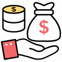 capital, cash, earning, money, payment icon