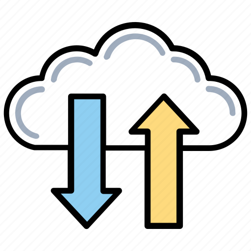Cloud computing concept, cloud data transfering, cloud file transfer, cloud storage, online data transfer icon - Download on Iconfinder