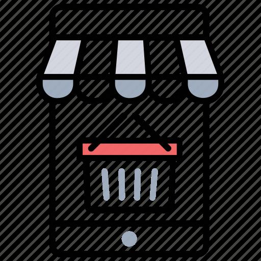 digital shop, m-commerce, mobile shop, online shop, shopping portal icon