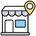 market spot, shop location, shopping location, store address, storehouse position icon