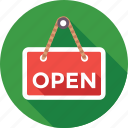 hanging sign, open, open shop, shop sign, signboard icon