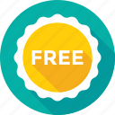 free, offer, promotion, shopping, sticker icon