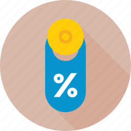 discount, label, offer, percentage, promotion icon