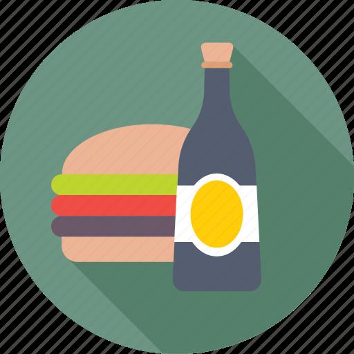 burger, fast food, food, junk food, wine icon