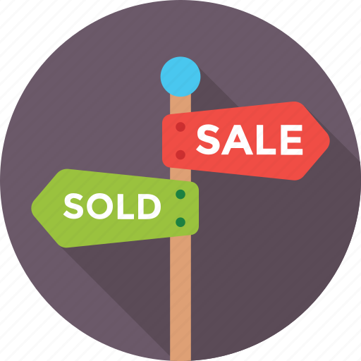 sale, shopping, signage, signpost, sold icon