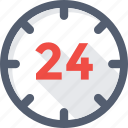 24 hours, clock, customer service, helpline, time icon
