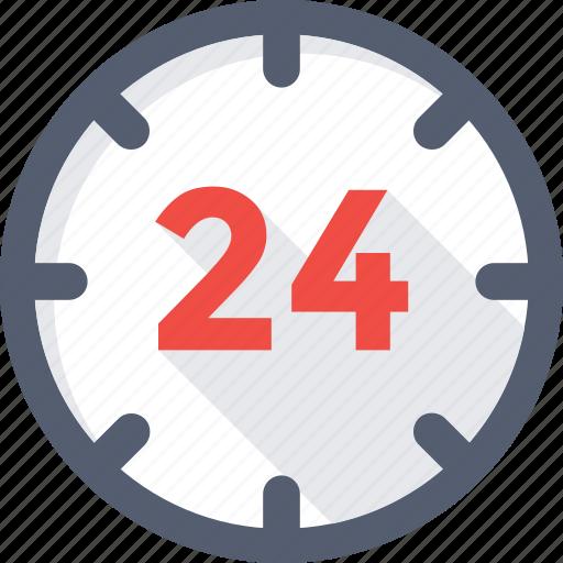 24 hours, clock, customer service, helpline, time icon