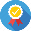 badge, premium, promotion, quality, tick icon