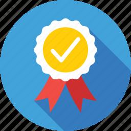 badge, premium, promotion, quality, tick icon