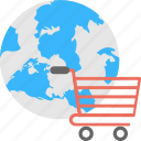 e-commerce, e-shopping, global shopping, online shopping, world commerce icon