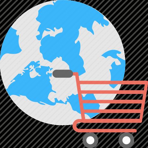 e-commerce, e-shopping, global shopping, online shopping, world commerce icon