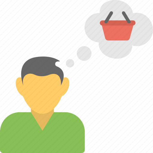 man dreaming about shopping, shopping concept, shopping plan, shopping speech bubble, shopping thinking icon