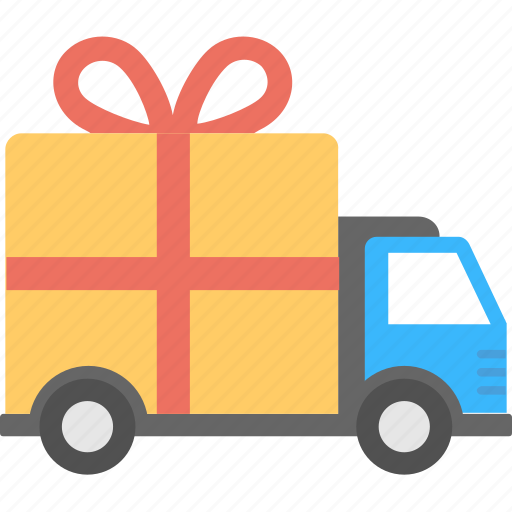 delivery truck with gift box, gift courier van, gift delivery concept, gift delivery van, gift van icon