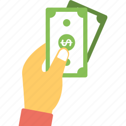 cash payment, hand holding cash, payment, reimbursement, salary icon