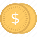 cash, currency coins, dollar coins, money, savings icon