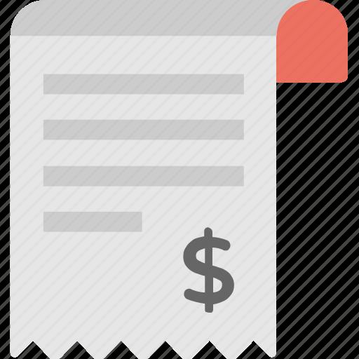 bill, cash receipt, invoice, receipt, shopping receipt icon